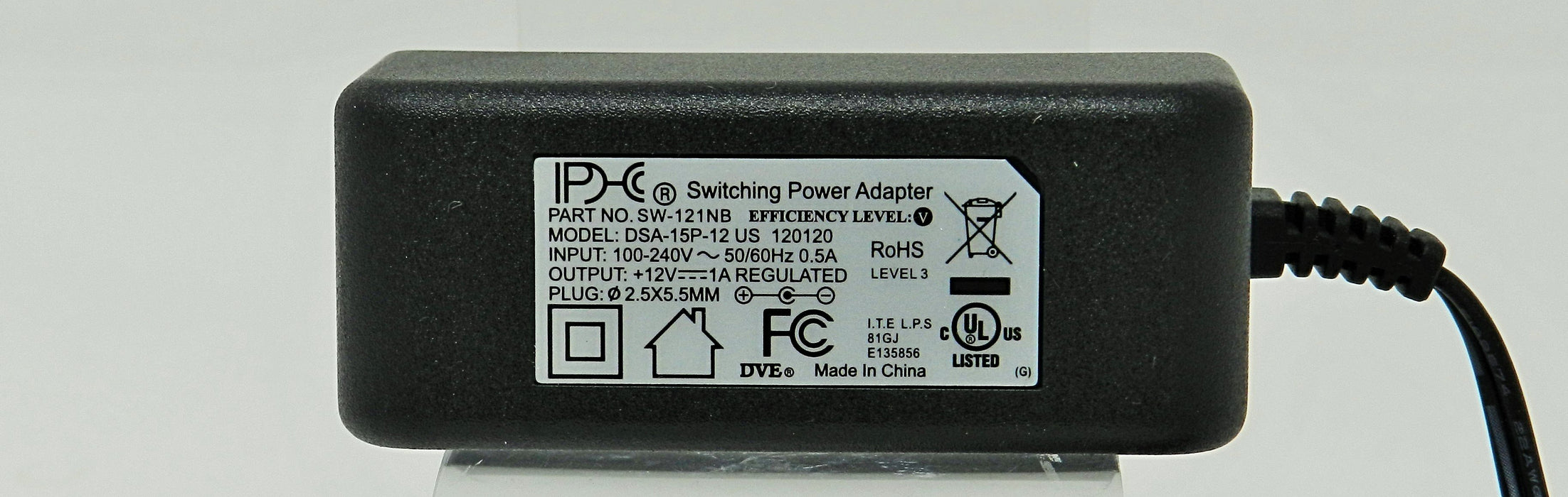 AC-DC Switching Regulated Power Supply 12VDC @ 1000mA; 2.5 x 5.5mm NEGATIVE center polarity; Part # SW-121NB