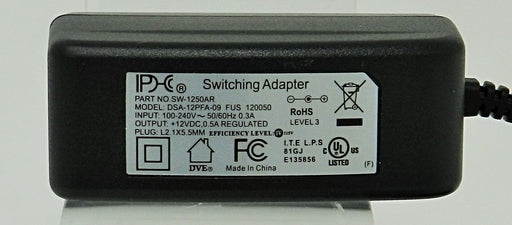 AC-DC Switching Regulated Power Supply 12VDC @ 500mA; 2.1 x 5.5mm (+) center polarity; Part # SW-1250AR