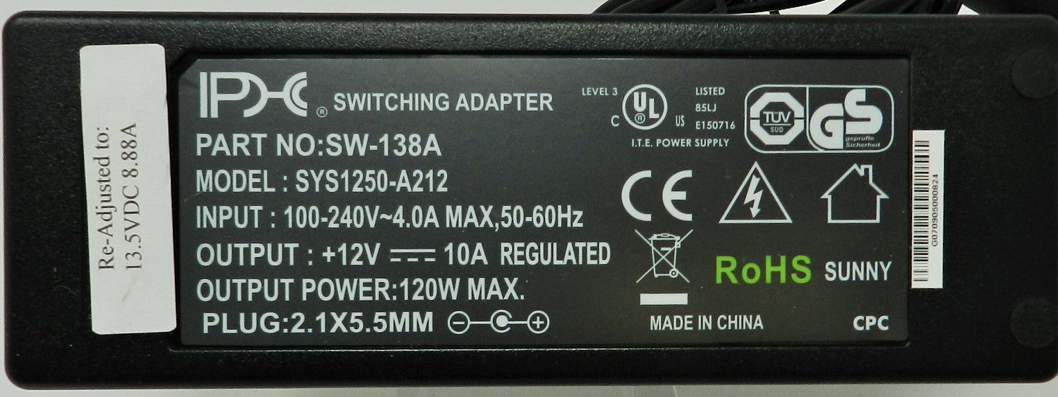 AC-DC Switching Regulated Power Supply 13.5VDC @ 8888mA; 2.1 x 5.5mm (+) center polarity; Part #: SW-138A