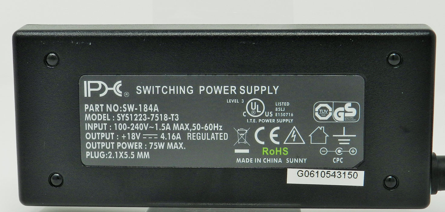AC-DC Switching Regulated Power Supply 18VDC @ 4160mA; 2.1 x 5.5mm (+) center polarity; Part # SW-184A