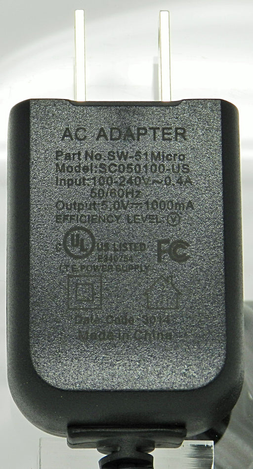 AC-DC Switching Regulated Power Supply 5VDC @ 1000mA; Micro USB Plug; Part # SW-51MICRO