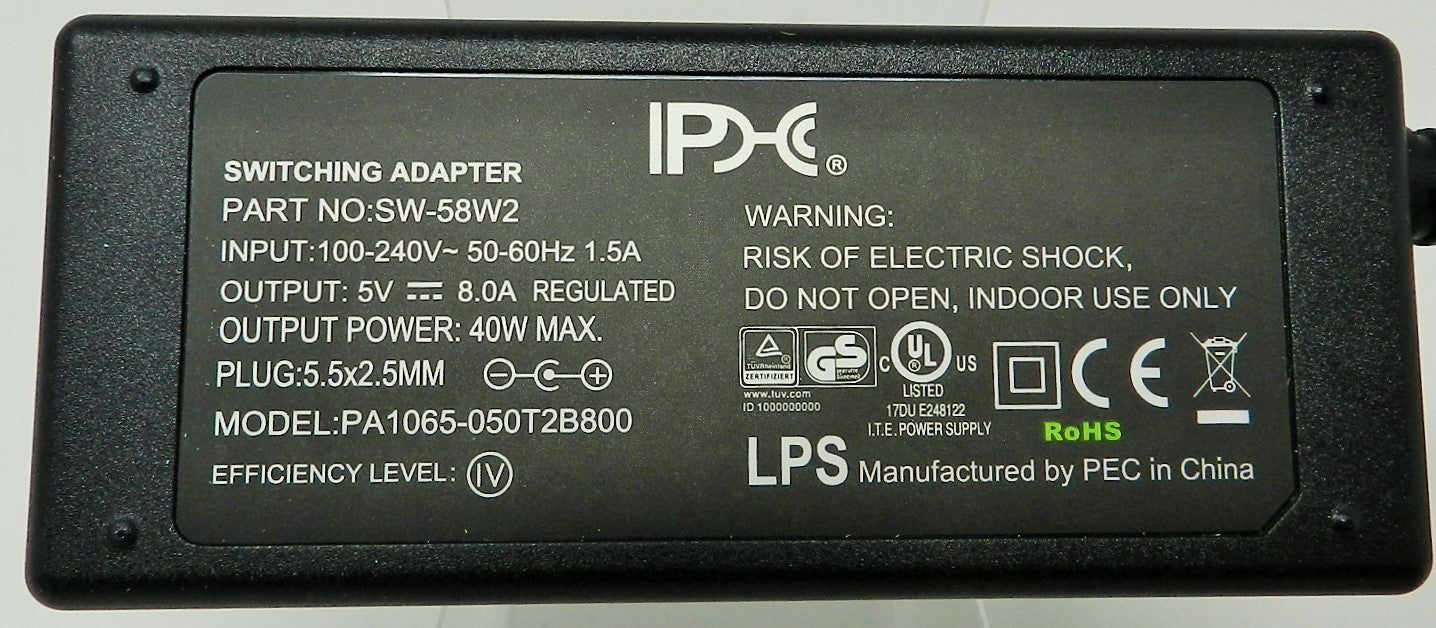 AC-DC Switching Regulated Power Supply 5VDC @ 8000mA; 2.5 x 5.5mm (+) center polarity; SW-58W2