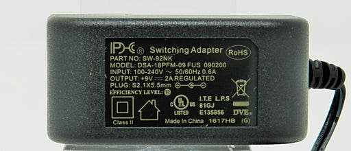 AC-DC Switching Regulated Power Supply 9VDC @ 2000mA; 2.1 x 5.5mm NEGATIVE center polarity; Part # SW-92NK