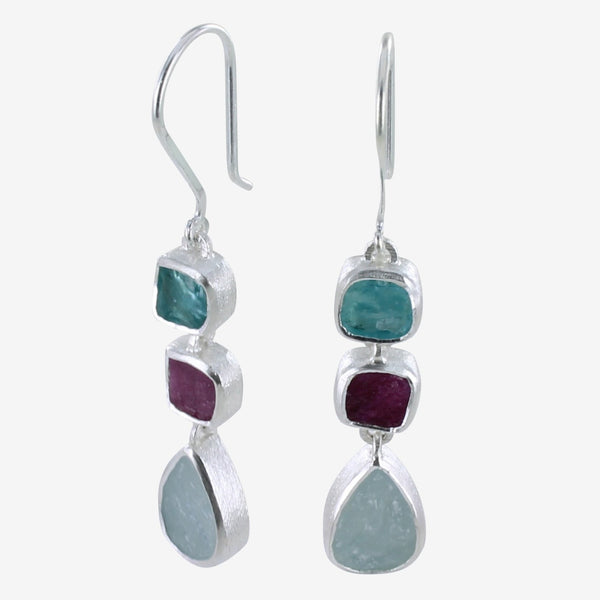 Rough 3 stone Drop Earrings