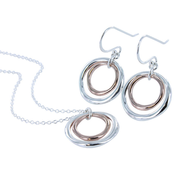 2 Ring Earrings with Gold