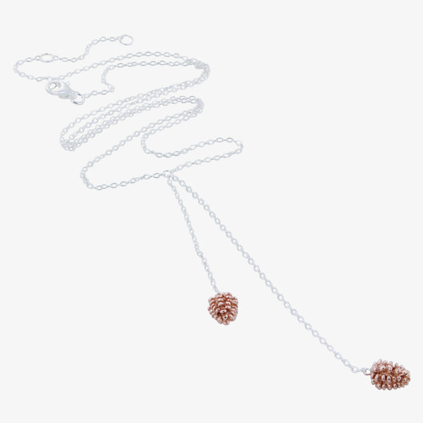 Sterling Silver Falling Fir Cone Necklace