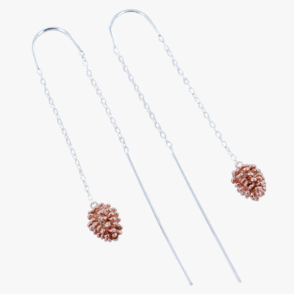 Falling Fir Cone Sterling Silver Earrings