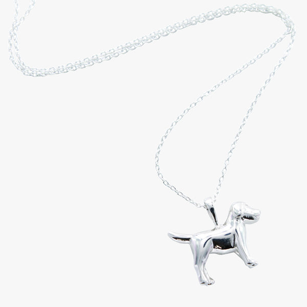 Sterling silver dog necklace on a silver chain