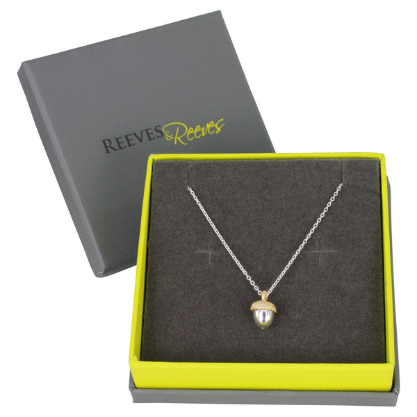 Reeves & Reeves Acorn Necklace in gift box