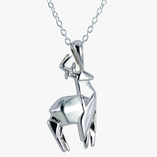 Sterling silver origami stag necklace
