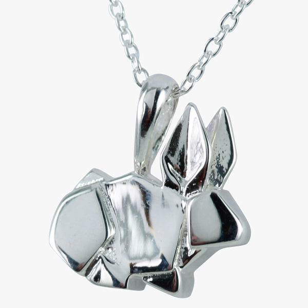 Sterling silver origami rabbit necklace on a silver chain