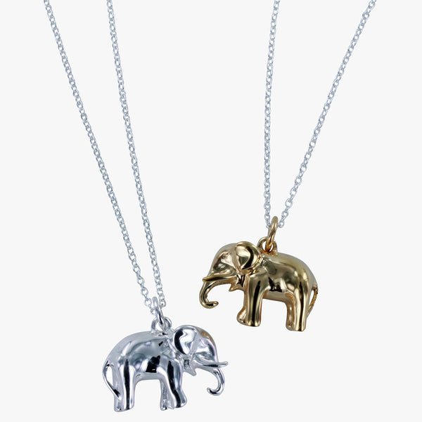 Sterling silver elephant pendant in silver or 18ct gold vermeil finish on a silver chain