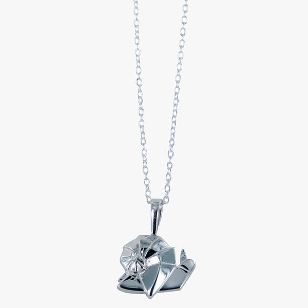 Sterling silver origami snail necklace on a silver chain