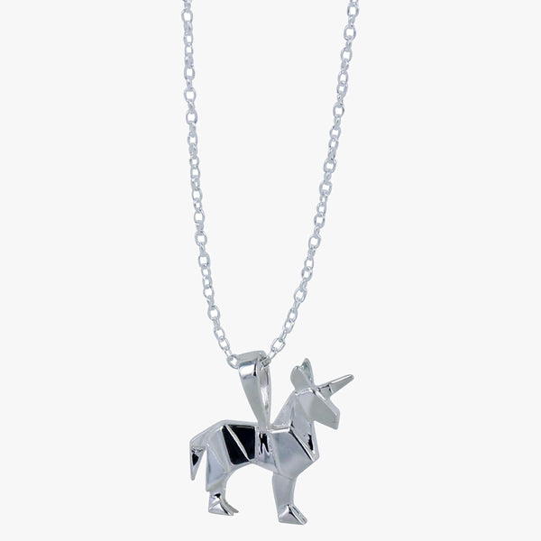 Sterling silver origami unicorn necklace