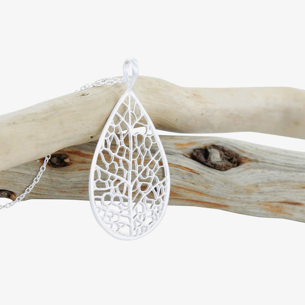 skeleton leaf silver necklace