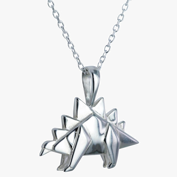 Sterling silver origami stegosaurus necklace