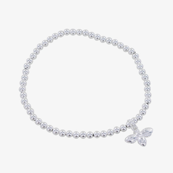 Sterling Silver Bee and Bead Charm Bracelet
