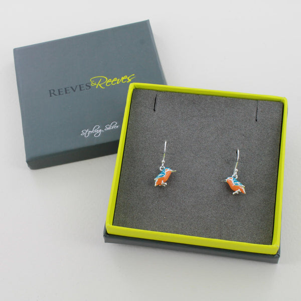 Enamel Kingfisher Earrings