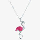 Sterling silver flamingo pendant with pink enamel