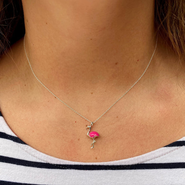 flamingo necklace sterling silver jewellery Reeves and Reeves