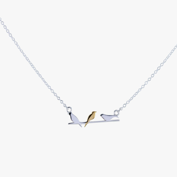 Sterling silver 3 birds sat on a wire necklace with 18ct yellow gold vermeil detail