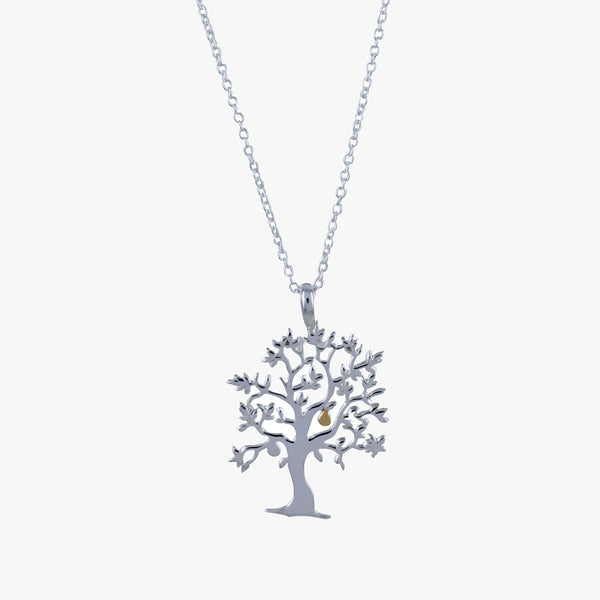 Sterling silver nut tree necklace with 18ct gold vermeil nut