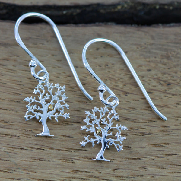 sterling silver nut tree earrings