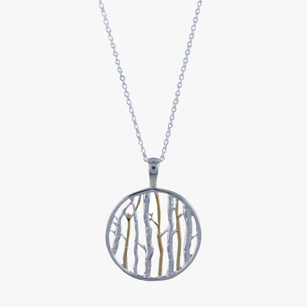 Sterling silver birch pendant on a silver chain