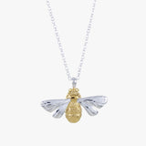 Sterling silver queen bee with 18ct gold vermeil detail on the body. On the silver chain
