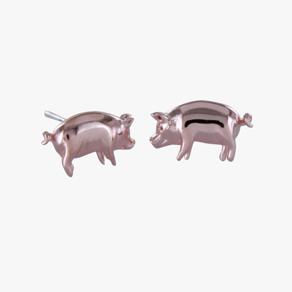 Sterling Silver Pig Stud Earrings