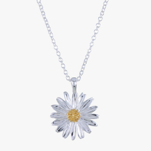 Sterling silver daisy with 18ct yellow gold vermeil centre on an adjustable silver chain