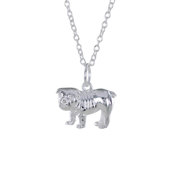 Sterling silver British Bulldog charm on a silver chain