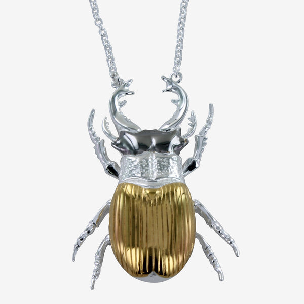 Gold Stag Beetle Necklace
