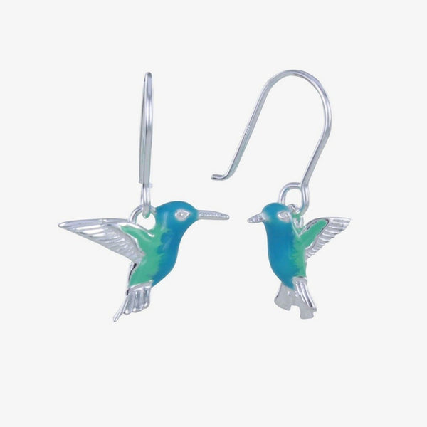 Sterling Silver and Enamel Humming Bird Earrings