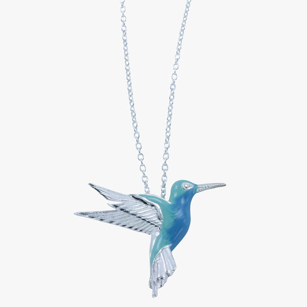 Sterling silver hummingbird pendant with blue and green enamel on a silver chain
