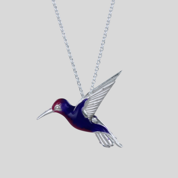 Sterling Silver Humming Bird and Enamel Necklace
