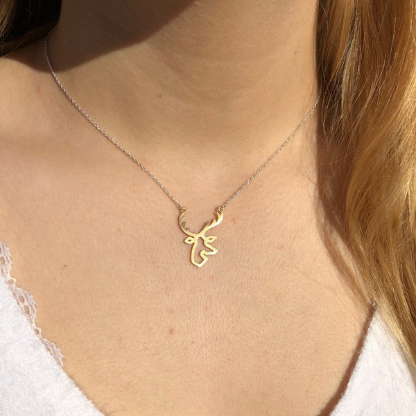 Sterling Silver Golden Stag Silhouette Necklace