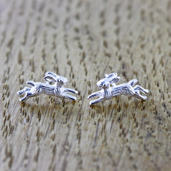 running hare earrings sterling silver jewellery