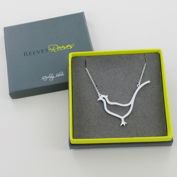 Sterling Silver Large Pheasant Necklace