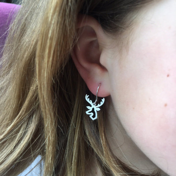 Stag Head Sterling Silver Earrings