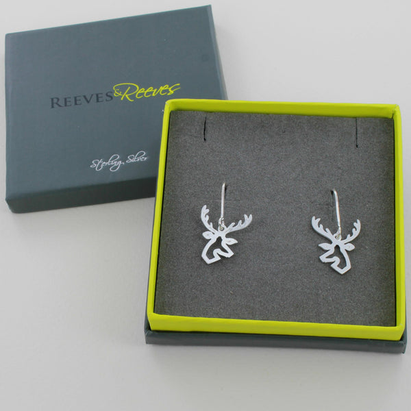 Sterling Silver Stag Head Earrings
