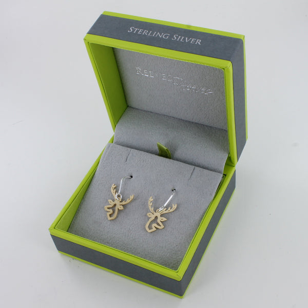 Golden Stag Head Earrings