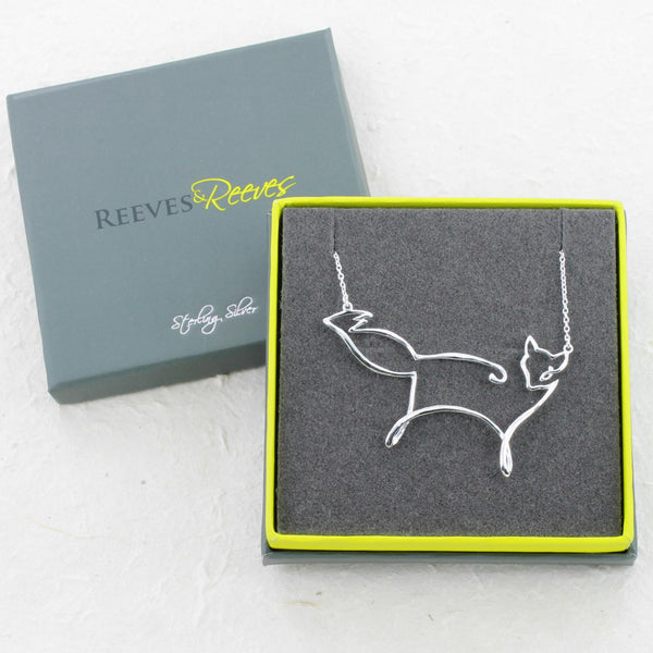 Sterling Silver Fox Line Necklace