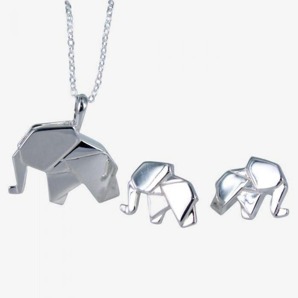 Origami Elephant Sterling Silver Necklace
