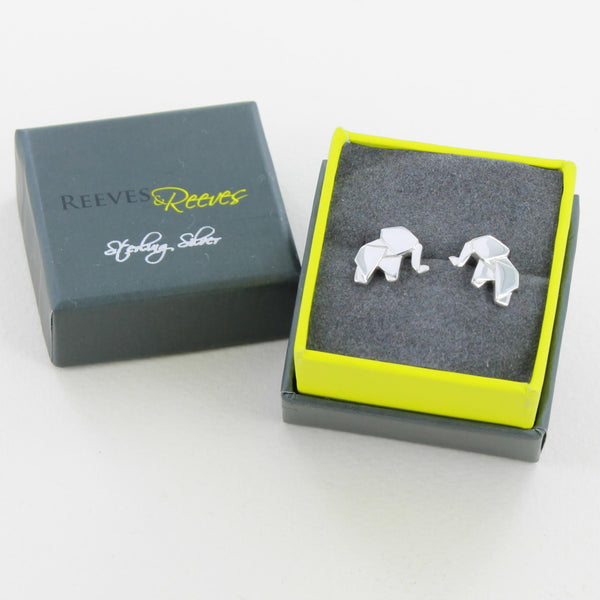Origami Elephant Stud Earrings