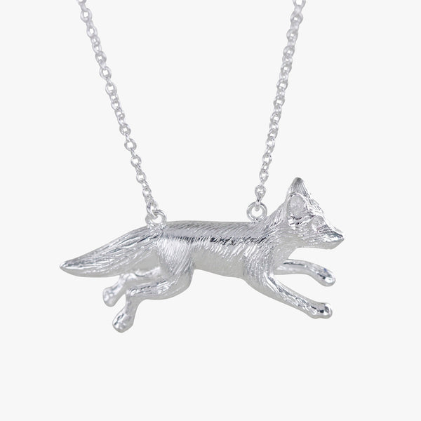 Sterling silver Running Fox necklace on a silver chain