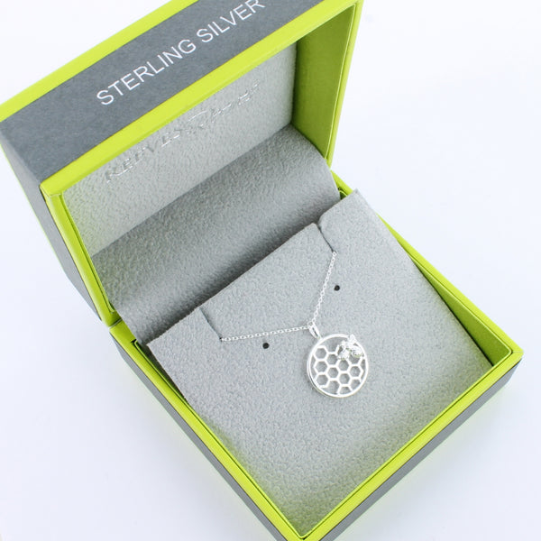 Bee & Honeycomb Sterling Silver Necklace