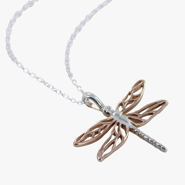 Sterling silver mayfly necklace on a silver chain
