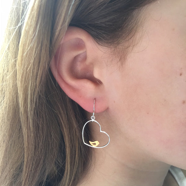Bird In a Heart Earrings