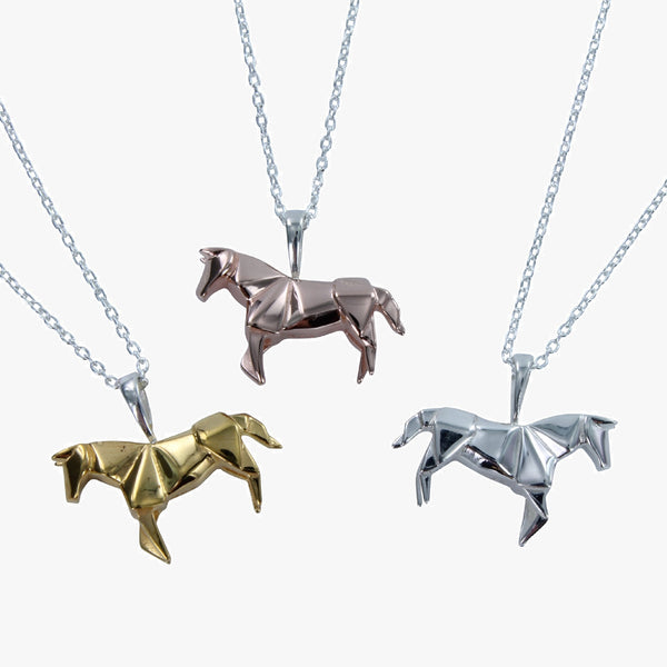 Sterling silver origami horse necklace in silver, 18ct yellow or rose gold vermeil finish